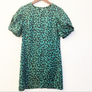 MILLY Leopard Print Emerald Green Silk Dress SZ 2